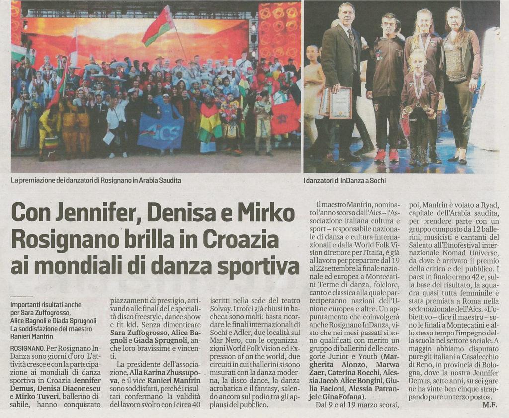 Rosignano brilla in Croazia ai mondiali di danza sportiva con Ranieri Manfrin Maestro di danza nominato l'anno scorso dall'AICS responsabile nazione di danza e cultura internazionali e dalla World Folk Vision direttore per l'Italia